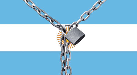 Metal chain and lock on Argentina flag.