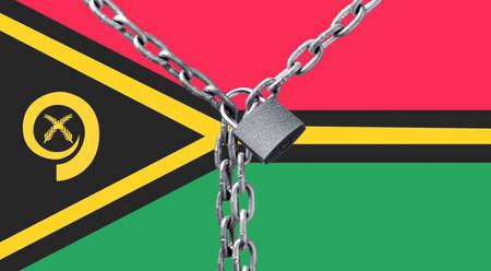 Metal chain and lock on Vanuatu flag.