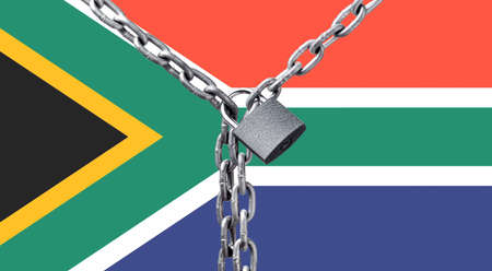 Metal chain and lock on South Africa flag.