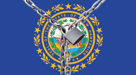 Metal chain and lock on New Hampshire flag. Concept of a ban on tourism due to the pandemic, violation of the rights and freedoms of citizens