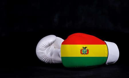 Boxing glove with Bolivia flag on black background Фото со стока