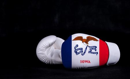 Boxing glove with Iowa flag on black background. Фото со стока