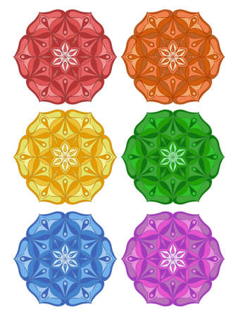Set of colored mandalas. Mandala in the form of a lotus.