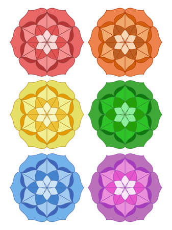 Set of colored mandalas. Mandala in the form of a lotus. Oriental circular patterns. Mandalas for relaxation and meditation. Pattern for yoga.