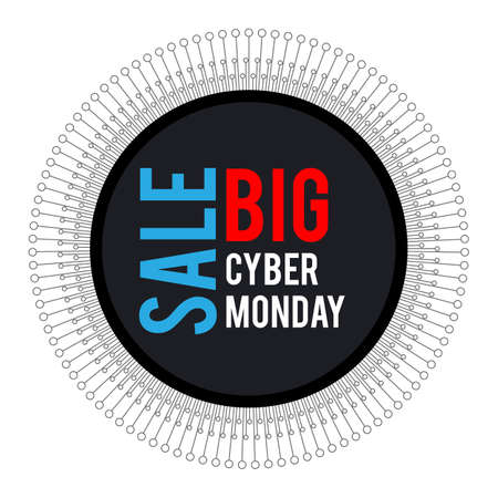 Cyber Monday. Round banner for holiday sales. With elements of electronics on a white background, arranged in a circle. With white, blue and red letters.