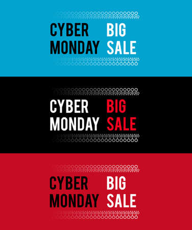 Cyber Monday banner for holiday sales. With electronic elements. With white and red letters on colored backgrounds.