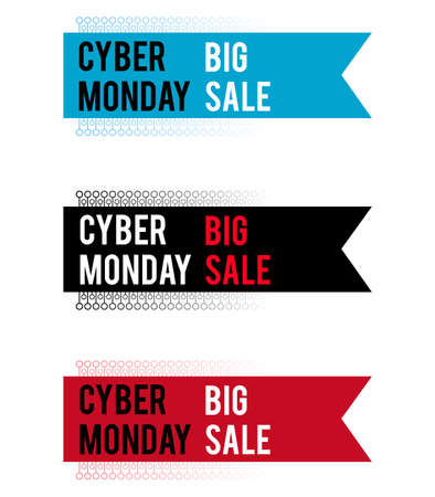 Cyber Monday banner for holiday sales. With electronic elements. With white and red letters on colored ribbons. Stock Illustratie