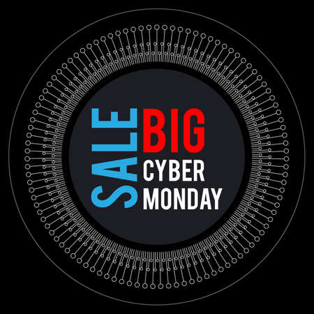 Cyber Monday. Round banner for holiday sales. With elements of electronics on a dark background, arranged in a circle. With white, blue and red letters.