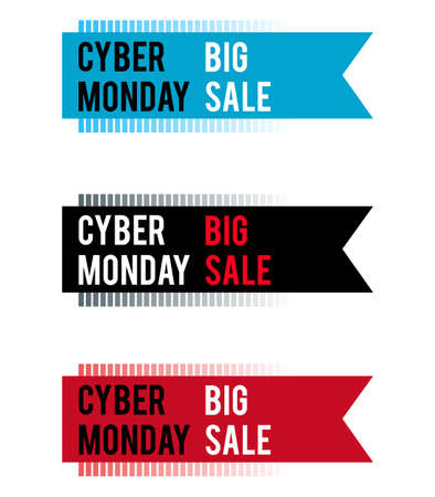 Cyber Monday banner for holiday sales. With a gradient of strips. With white and red letters on colored ribbons. Stock Illustratie