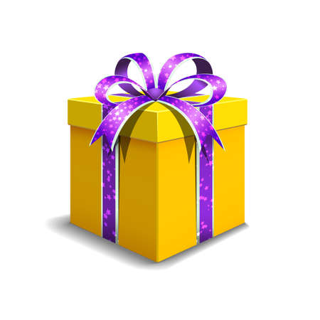 Festive gift box yellow color. Tied with purple ribbon with stars with a bow on top. Holiday packaging. Holiday gift icon. Isolated realistic box. Vettoriali