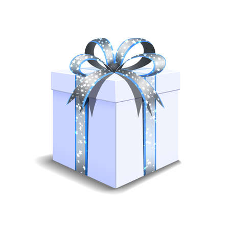 Festive gift box white. Tied with a silvery blue ribbon with stars with a bow on top. Holiday packaging. Holiday gift icon. Isolated realistic box. Vettoriali