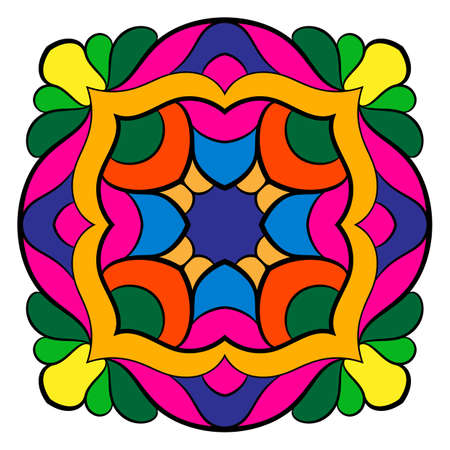 Mandala for meditations. Symmetrical pattern in the square. A colorful picture for the color book. Simple drawing for scrapbook. Template for the album.