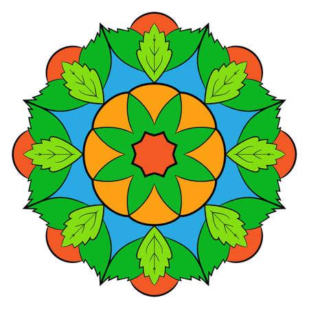 Il mandala colorato. Un motivo ripetuto nel cerchio. Una bella immagine per scrapbook. Immagine per la meditazione e il relax. Fiore stilizzato.