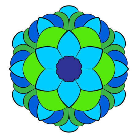 The colored mandala. A repeating pattern in the circle. A beautiful image for scrapbook. Picture for meditation and relaxation. Stylized flower.