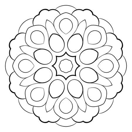 Contour mandala for color book. Monochrome illustration. Symmetrical pattern in a circle. A beautiful image for scrapbook. The template for printing on fabric. Picture for meditation and relaxation. Vector Illustratie