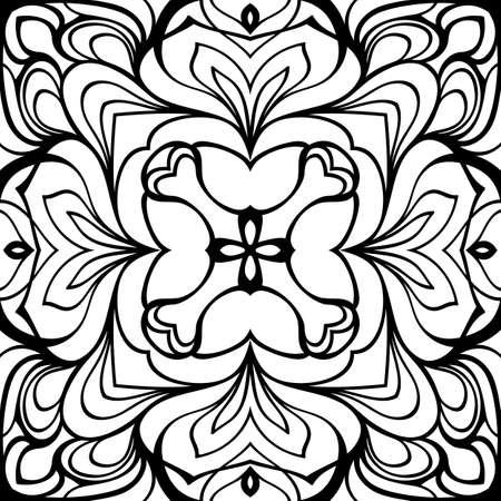 Mandala monocromo. Patrón simétrico en el cuadrado. Ilustración de contorno para libro de colores. Adorno oriental.