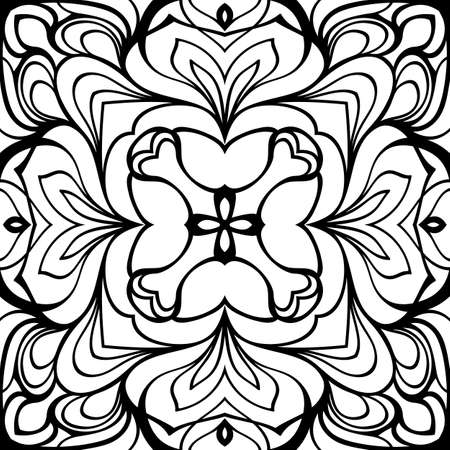 Monochrome mandala. Symmetrical pattern in the square. Contour illustration for color book. Oriental ornament.