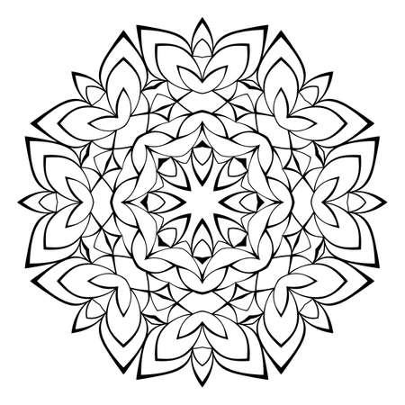 Beautiful mandala for the album. Symmetrical ornament in the circle. Illustration for color book. Monochrome drawing. Vecteurs
