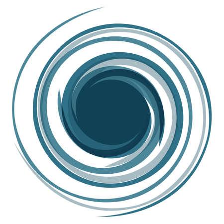 Hypnotic logo. Dynamic game effect. Twisted blue curl. Spiral stylized curls. Background for presentation. Logos