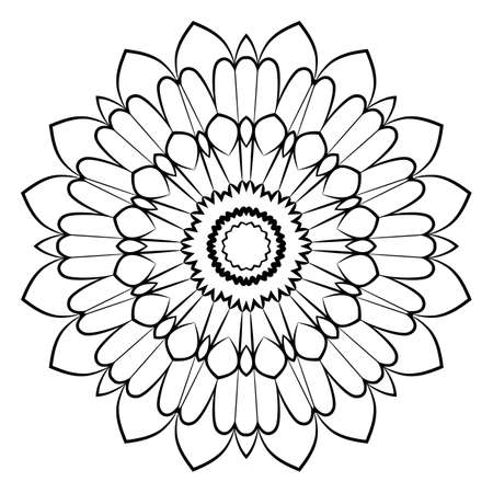 Beautiful mandala for the album. Symmetrical ornament in the circle. Illustration for color book. Monochrome drawing. Soothing image for relaxation and yoga.