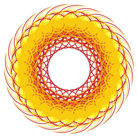 Yellow round frame. Background of intersecting lines. Dynamic image of thread. Sunny backdrop for text. Dynamic twisted wreath.