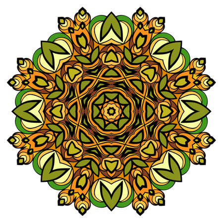 Mandala meditation. Oriental ornament in a circle. Symmetric colorful pattern. Illustration for spiritual relaxation. Floral Pattern.