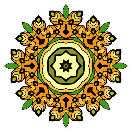 Mandala for relaxation. Oriental ornament in a circle. Symmetric colorful pattern. The meditative illustration. Floral Pattern.