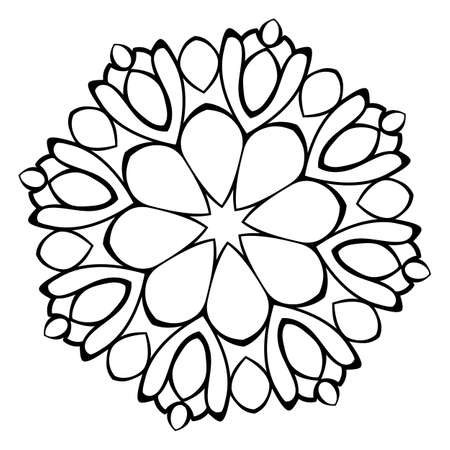Mandala for relaxation. Soothing drawing. Monochrome illustration of rosette. Symmetrical pattern in the circle. Image for color books. Vegetative decorative motif.