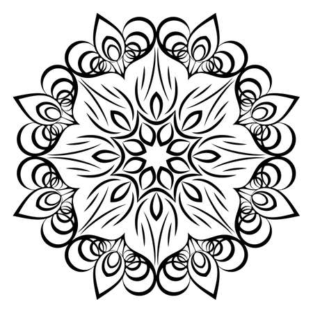Mandala for relaxation. Soothing drawing. Monochrome illustration of rosette. Symmetrical pattern in the circle. Image for color books. Stylized flower with curls. 向量圖像