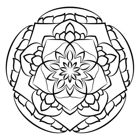 Mandala for relaxation. Soothing drawing. Monochrome illustration of rosette. Symmetrical pattern in the circle. Image for color books.