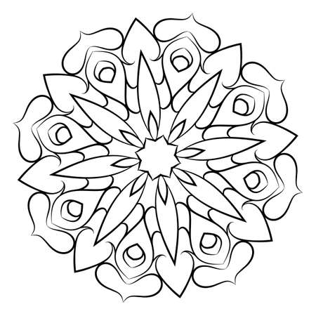 Soothing mandala. Soothing drawing. Monochrome illustration of rosette. Symmetrical pattern in the circle. Image for color books.