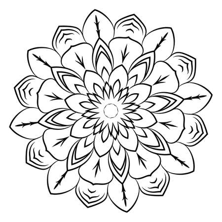 Mandala for meditations. Soothing drawing. Monochrome illustration of rosette. Symmetrical pattern in the circle. Image for color books.