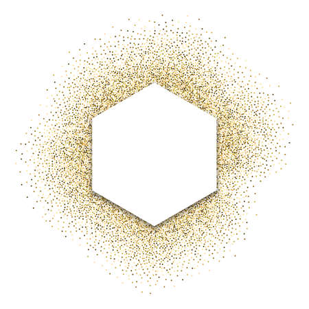 Gold festive frame. Hexagonal white background with shadow. Back from round sweets, glitter. A beautiful, bright template for a poster business card invitation card certificate web flyer logo.