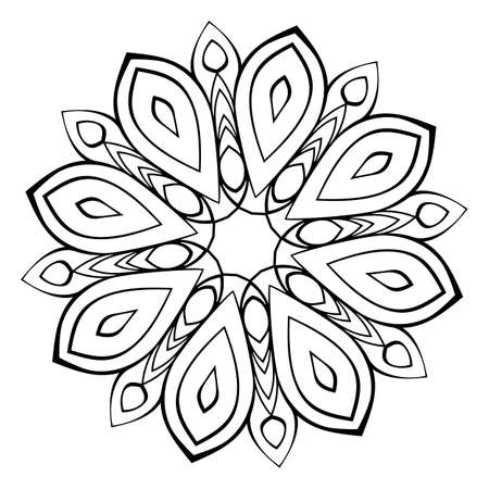 Mandala for relaxation. Soothing drawing. Monochrome illustration. Symmetrical pattern in the circle. Image for color books. Dynamic decorative motive.