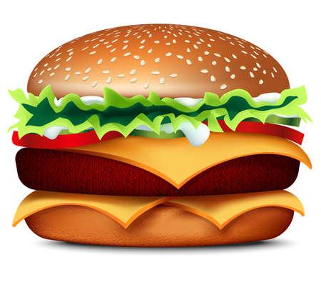 Hamburguesa grande 3D. Comida rápida con una sombra sobre un fondo blanco. Una ilustración realista y jugosa de comida. Un sándwich de carne, queso y verduras. Hermoso icono para el comensal. Ilustración de vector