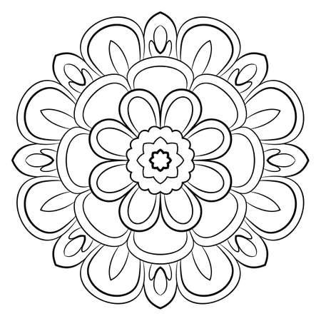 Mandala monochrome. Un motif répétitif dans le cercle. Une belle image pour scrapbooking. Image pour la méditation. Motif fleuri calme.