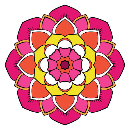 Bright colored mandala. A repeating pattern in the circle. A beautiful image for scrapbook. Picture for relaxation. Stylized flower with eight petals.