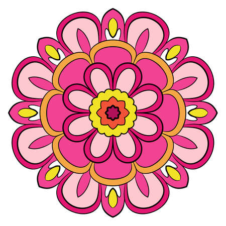 Bright colored mandala. A repeating pattern in the circle. A beautiful image for scrapbook. Picture for meditation.
