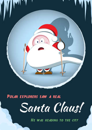 Christmas humorous poster with Santa. Cover in retro style with the inscription. Merry Christmas card in the style of comics. A cartoon winter character. Santa Claus in the spotlight.