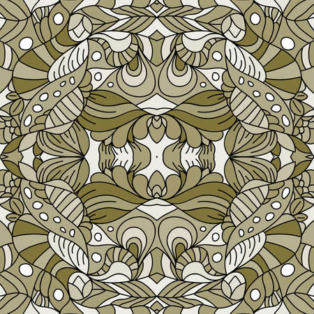 Seamless psychedelic pattern. Beautiful colorful background. Backdrop for the preview. Drawing in retrostile. Vintage image. Ilustração