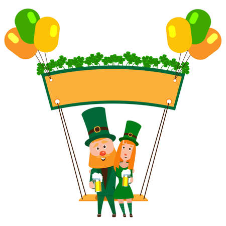 Saint Patrick with a girl on a swing under the banner of clover. Cartoon character. A man with a red beard and a woman in an emerald suit. Cheerful young people with a mug of foamy beer. Stock fotó - 134322817