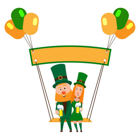 Saint Patrick with a girl on a swing under the banner. Cartoon character. A man with a red beard and a woman with red hair in an emerald suit. Cheerful young people with a mug of foamy beer. Stock fotó - 134322738