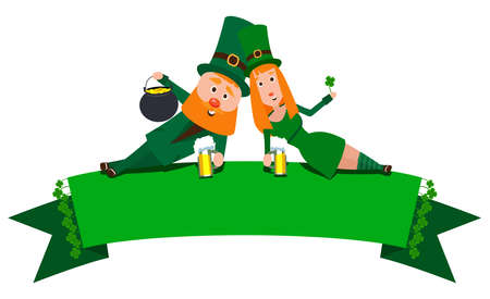 Saint Patrick with a girl lying on the banner. Cartoon character. A man with a red beard and a woman with red hair in an emerald suit. Cheerful young people with a mug of foamy beer. Illusztráció