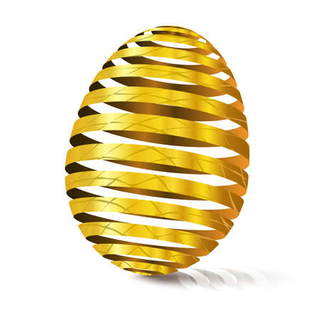 3d golden egg with texture. Modular eggshell spaced. Happy Easter day. East tradicional gift for good luck. Stylized farm products.