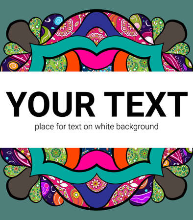 A square background for text. Beautiful cover template. Frame with a color pattern. The message is in white. Eastern motives for business presentation.
