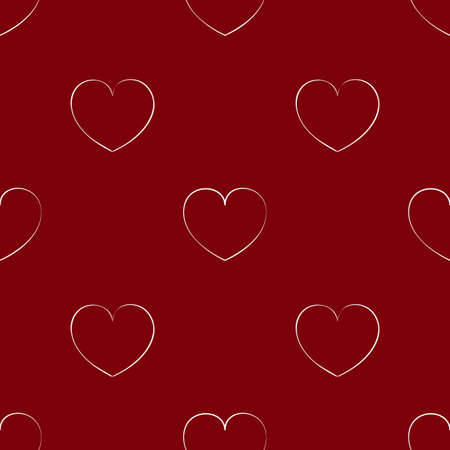 Seamless maroon pattern with hearts. Bright background for the Valentines day. Cute wallpaper on the theme of love. Texture with a white outline. Иллюстрация