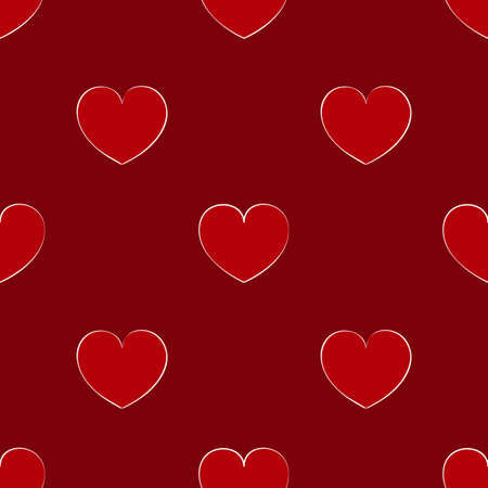 Seamless maroon pattern with hearts. Bright background for the Valentine's day. Cute wallpaper on the theme of love.