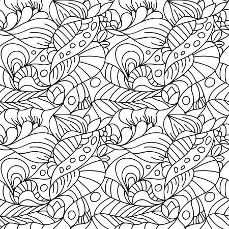 Seamless psychedelic pattern. Beautiful monochrome background. Backdrop for the preview. Drawing in retrostile. Vintage image.