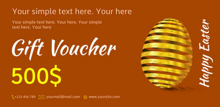 Holiday gift voucher. Bright Easter coupon sales. Festive illustration of red, or terracotta color with golden Easter egg. Attractive discount for 500 dollars.