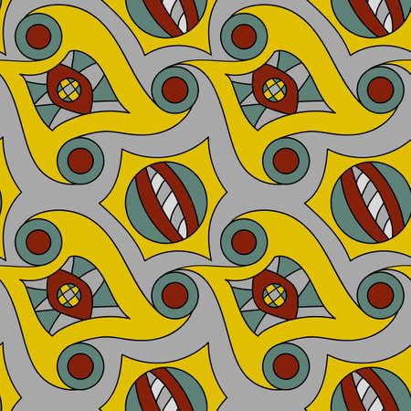 Seamless psychedelic pattern. Beautiful color background. Backdrop for the preview. Drawing in retrostile. Vintage image.